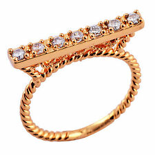 18k Gold Plated cz cubic zirconia wedding womens engagement rings size 6 7 8