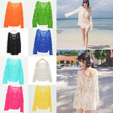 Women Sunscreen Semi Sheer Embroidery Lace Crochet Tee T-Shirt Top Blouse New