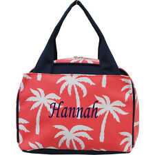 Personalized Palm Tree Coral Insulated Cooler Thermal Tote Lunch Bag Monogram
