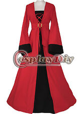 Red&Black Medieval Renaissance Victorian Dress Costume For Gothic Fancy Dress