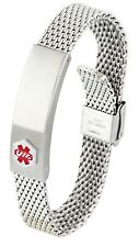 Engravable DOC TOCK Stainless Steel Adjustable Mesh Medical Alert ID Bracelet