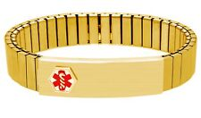 DOC TOCK Stainless Steel or Ion Gold Plated Expansion Medical Alert ID Bracelet