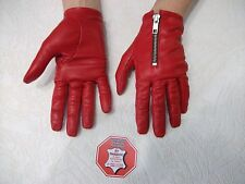 WOMENS  RED REAL SOFT GOATSKIN  LEATHER  DRIVING  GLOVES  SIZE 7, 7.5, 8,8.5