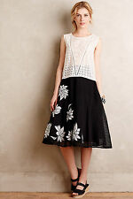 Anthropologie Contrabloom Petite Skirt 8P, Black & White, Plenty By Tracy Reese
