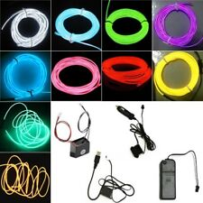1/3/5M Flexible Led EL Tube Wire Neon Glow Decor Rope Party Light + controller