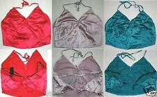 THE LIMITED Satin Silk Halter Top Shirt Cami Tie Backless Sexy Crop Clubwear NWT