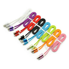 Soft Flat Noodles Micro USB 2.0 Fast Data Sync Charger Cable For Samsung Galaxy