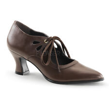 Funtasma VICTORIAN-03 Women's Shoes Brown Pu Kitten Heeled Pointed Lace Up