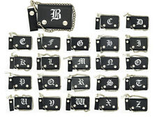 Biker Chain Wallet Genuine Leather Emboridered Old English Initial A-Z Trifold
