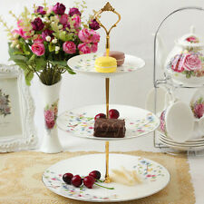 2/3 Tier Cake Plate Stand Cupcake Fittings Silver Golden Wedding Party CocktailF