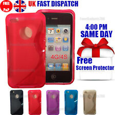 GRIP S-LINE SILICONE GEL CASE & FREE SCREEN PROTECTOR FITS APPLE IPHONE 4G 4S