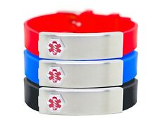 New Engravable DOC TOCK Rubber & Stainless Steel Medical Alert ID Bracelet
