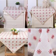 yazi Embroidered Pink Flower Cotton Linen Square Tablecloth Cabinet Table Cover
