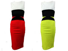 Womens Ladies Celebrity Contrast Panel Skirt Bodycon Mini Party Dress Size 8-16
