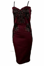 Womens Ladies Celeb Sleeveless Strappy Lace embroidered Midi Bodycon Dress 8-14