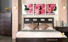 Original Oil Painting HD Print Wall Decor Art On Canvas,Pink RosesUnframed)3PCS