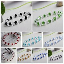 Women Charming Artificial Faceted Loose Beads Crystal Bracelet Stretch Fashion