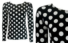 NEW LADIES BLACK WHITE POLKA DOT SCOOP NECK LONG SLEEVED TOP PLUS SIZE 6-18
