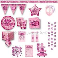 60TH BIRTHDAY Pink Glitz Party Supplies Tableware Banners Balloons & Decorations