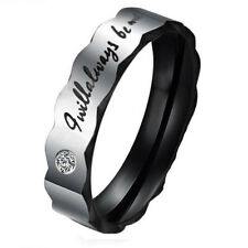 Fancy Stainless Steel Letter Crystal Couple Rings Band Lover Wedding Band Rings