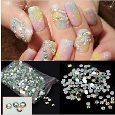 1000Pcs Nail Art Flatback Crystal AB 14 Facets Resin Round 4mm Rhinestone BeadsC