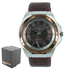New Genuine Men's Brown Faux Leather Strap Ben Sherman Round Quartz Watch R928