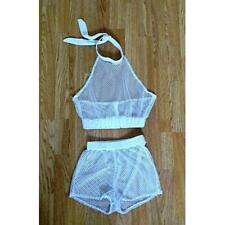 Two Piece Set Camisole Short  Cropped Blouse Crop Semi Sheer Mesh Beach