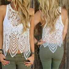 Women's Summer Lace Crochet Sleeveless Vest Tank Top Casual Blouse Casual Shirt
