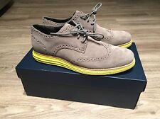 Cole Haan LunarGrand Long Wing Tip Grey Volt Suede Men's C10226 Brand New In Box