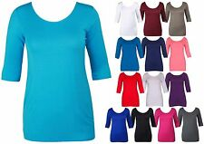 WOMENS BODYCON STRETCH LONG TOP LADIES 3/4 SLEEVE PLUS SIZE T-SHIRT DRESS 14-18