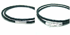 MENS/LADIES LEATHER NECKLACE-3mm BLACK BRAIDED-925 STERLING SILVER CLASP CHOICE