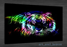 Oil Painting HD Print Wall Decor Art On Canvas,neon tiger 24x36 (Unframed)
