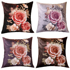 Rose Flower Pillow Case Cotton linen Cushion Cover Decorative Square Throw Sofa