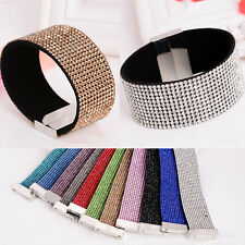 New 12 Rows Leather Wrap Wristband Cuff Punk Crystal Rhinestone Bracelet Bangle