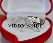 Solid1*His&Hers 3 Rings Engagement & Wedding Engagement/Wedding Ring Sets Silver