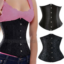 Lace up waist Trainer Corset underbust Steel busk Boned Corset Top Black Waspie