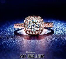 18K Rose GOLD GP SILVER Wedding ENGAGEMENT RING  SWAROVSKI CRYSTAL R184