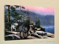 Original Oil Painting HD Print  on Canvas,Wolves Cliff Trees Sky (Unframed)
