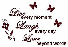 LIVE LAUGH LOVE vinyl wall art sticker words butterflies floral home family