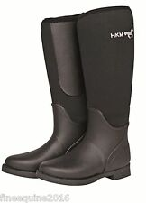 HKM NEOPRENE MUCKER YARD BOOTS ATLANTA  BLACK WELLINGTONS HARD WEARING