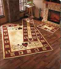 Hearts Stars & Berries Rustic Themed Rug Collection Accent Runner Area Primitive