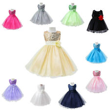 Girls Princess Birthday Bridesmaid Christening Party Wedding Tulle Dress 6M-3Y