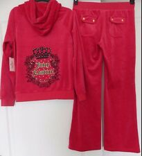 NWT JUICY COUTURE VELOUR HOODIE & BOOTCUT PANTS TRACKSUIT CROWN RED SIZE M-L-XL