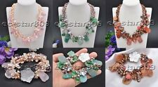X0446 3Strds Schistose Gemstone Rice Pearl Faceted Crystal Necklace braeclet 18i