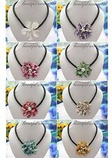 """X0190 18"""" 60mm shell basketry flower necklace"""