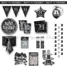 21ST BIRTHDAY Black Glitz Party Supplies Tableware Banners Balloons Decorations