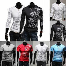 Men's Slim Fit Dragon Tattoo Printed Round Neck T-Shirt Tee Summer Cotton Tops