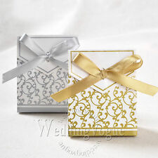 50 / 100 /  200pcs Gold Sliver Bridal Wedding Party Gift Ribbons Candy Boxes Bag