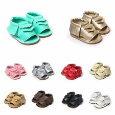 Boys Girls Soft Sole Tassel Babys Kids Toddler Anti Slip Crib Shoes Sandal 0-18M