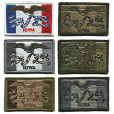 "Tactical Hook Fastener State Badge Patch Morale 2""x3"" Iowa IA Des Moines"